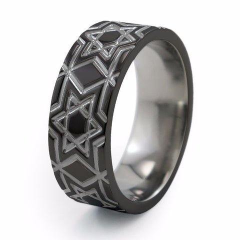 Magen David | Two-Tone Titanium Ring