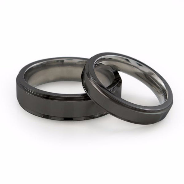 Japanese Samurai Black titanium wedding band. Matching mens and ladies black titanium wedding bands