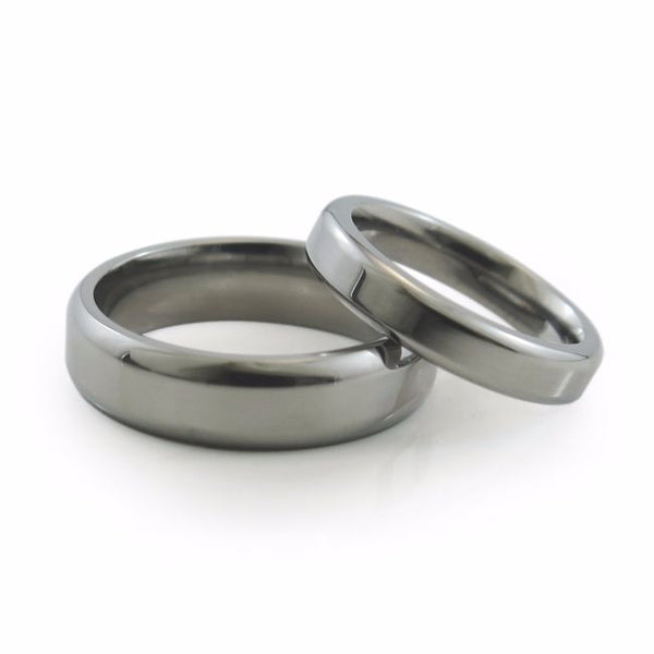 Simple classic titanium wedding band and titanium ring. Comfort fit. Contour band