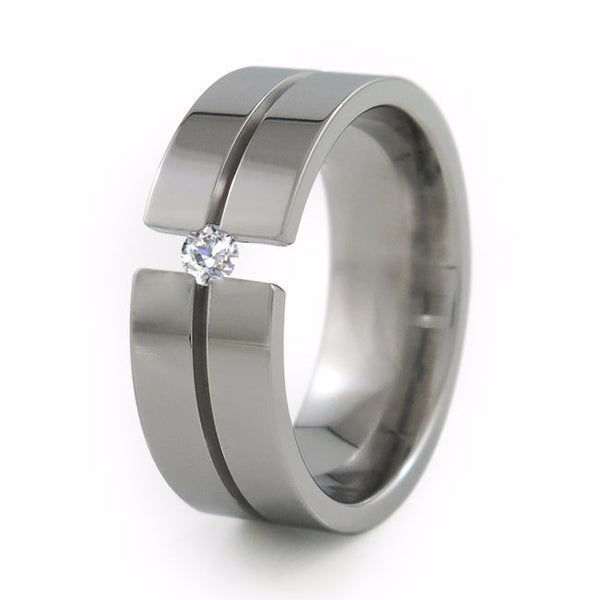 Titanium Wedding band with solitaire tension set gemstone or diamond