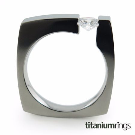 square shape titanium ring with tension setting. Wedding band or engagement ring.  Unisex titanium ring