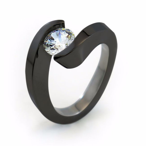 The Stella Titanium engagement ring is elegant and trendy. Your Diamond or gemstone appears to float in a flowing wave.