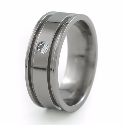 Abyss | Single Inset Diamond Titanium Ring