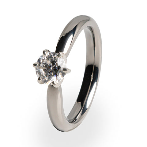 5mm (±0.50 ct) Solitaire Diamond with White Gold Setting - 6 Prong