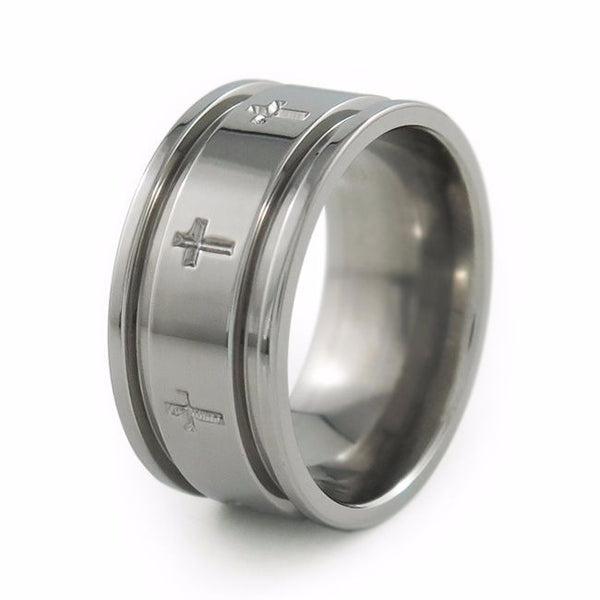 Crusader Ring, mens ring, mens wedding ring, wedding band, Titanium Ring