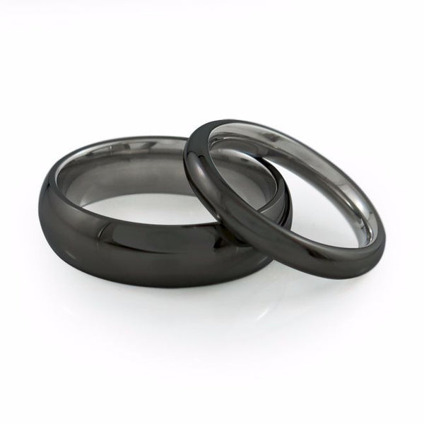 Mens and ladies simple titanium wedding band black titanium or natural titanium
