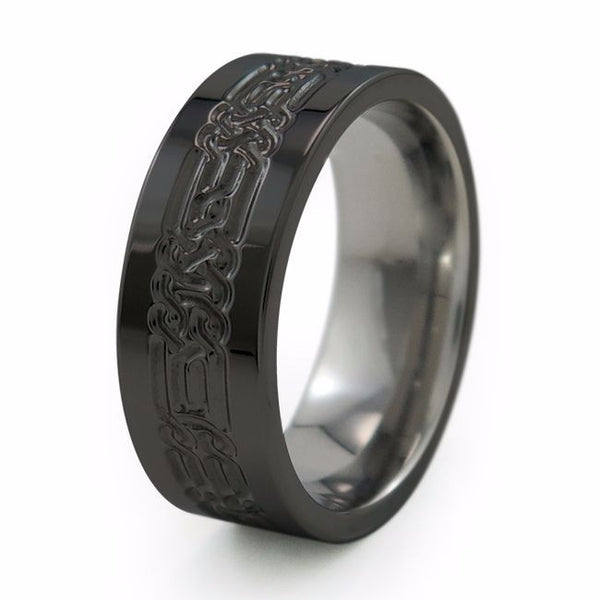 The Lancelot Titanium ring was designed as a Celtic knot pattern to symbolize love that is everlasting; having developed over an eternity of past lives.