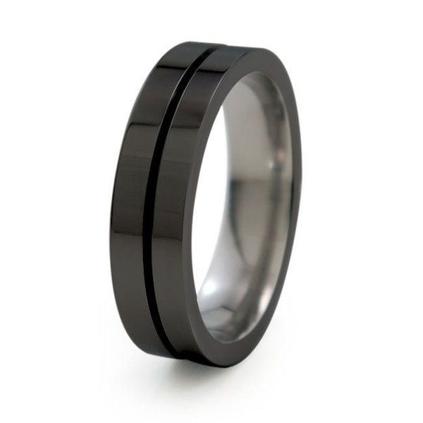 Mens Black titanium band. Mojo Titanium Wedding band