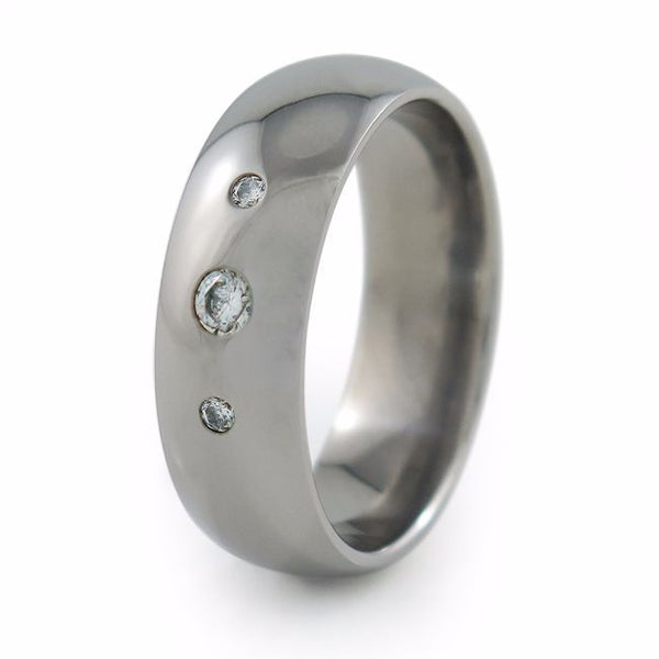 titanium wedding band with inset gemstones diamonds, sapphires, moissanites, cubic zirconia mens or ladies, unisex titanium ring