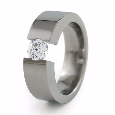 Proxima Titanium Ring with 6mm (±0.90 ct) Diamond