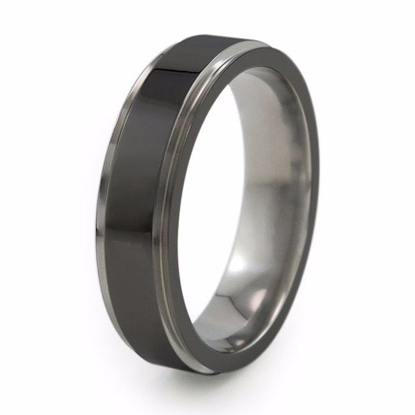 Two toned titanium ring with comfort fit.  Mens, ladies, unisex titanium ring.