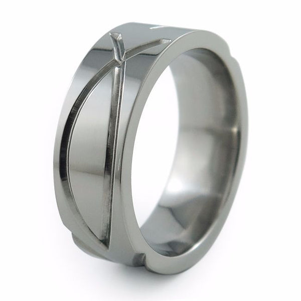 "The Ichthus Titanium wedding band surface is deeply engraved with stylized Christian symbols originally called –Ichthus"" (Greek for fish)"