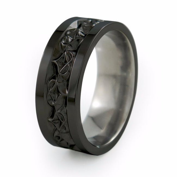 mens black wedding rings mens carved black titanium ring titanium rings 5788