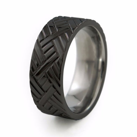 Chevrons | Black Titanium Ring