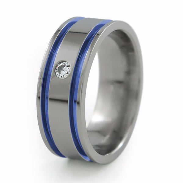 Mens Titanium Ring with diamond and blue anodizing
