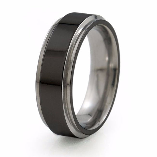 Mens two toned black titanium Wedding band.  Diamond coated Black Titanium ring