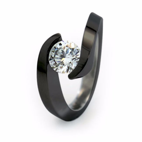 Stella Black 6mm (±0.90 ct) Solitaire Titanium Ring