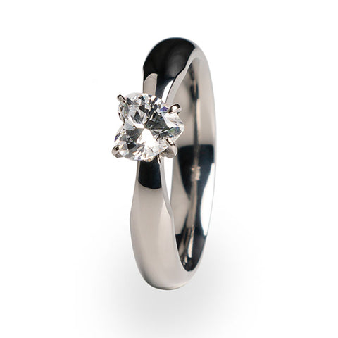 Aimee Heart Solitaire Titanium Ring