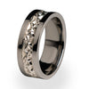 Amore Titanium ring with Silver inlay
