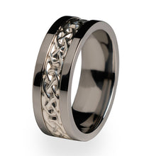 Apprentice Titanium ring with silver inlay