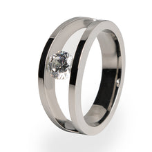 Titanium ring with solitaire gemstone for women