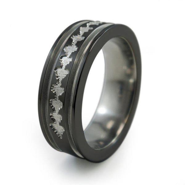 Black Titanium Ring with sound wave engraving of babys heartbeat from Ultrasound, or any sound wave that can be captured.