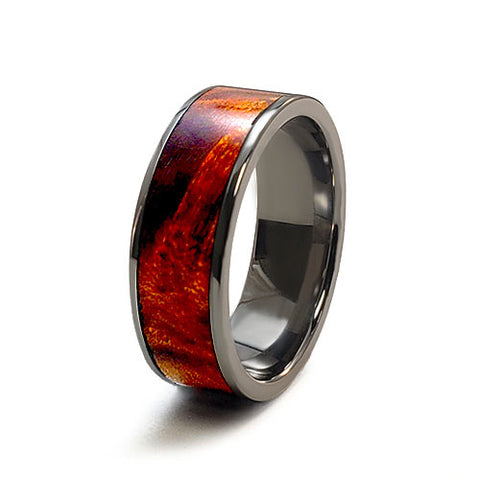 Amber Maple Burl Titanium Ring with Wood Inlay