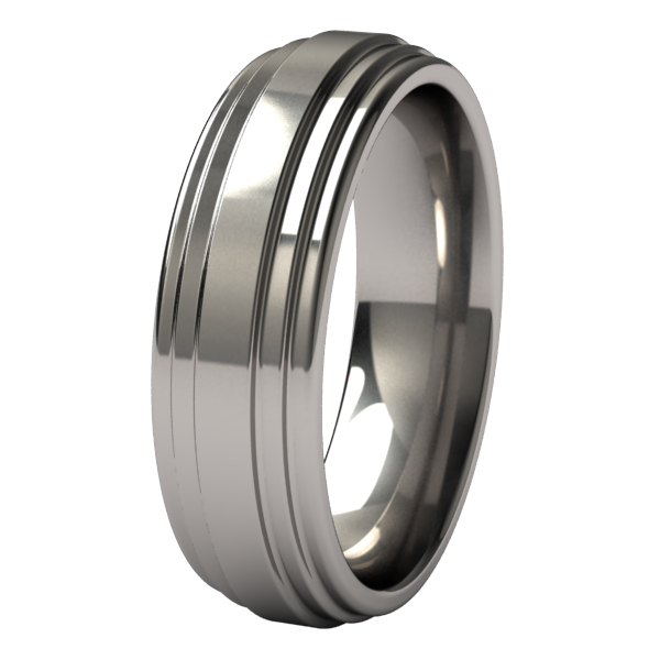 Titanium ring with a curved design and comfort fit