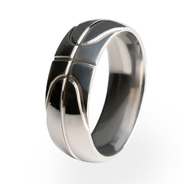 Basket Ball titanium ring. A Sports themed ring made from US aircraft grade titanium