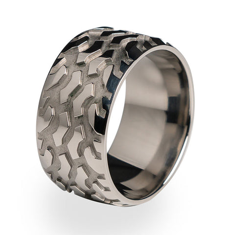 Big Bogger Tire Tread Titanium Ring