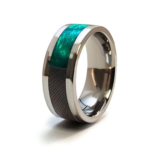 Black Locust Burl Titanium Ring with Wood Inlay