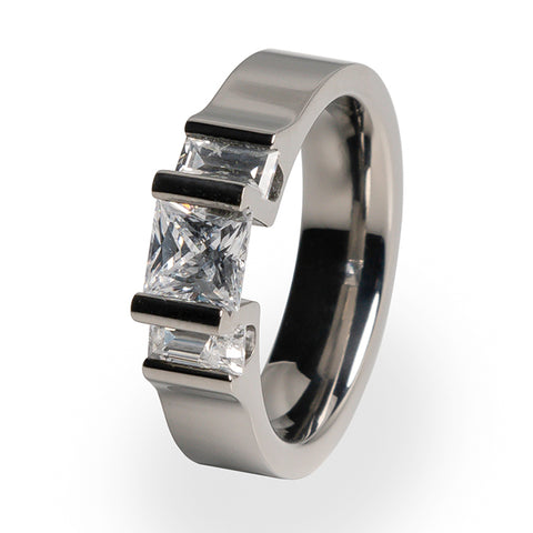 Cathedrale-Titanium Triple Gem Engagement Ring
