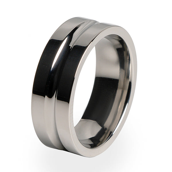 A traditional Titanium ring with a comfort fit.  A perfect wedding ring for him.
