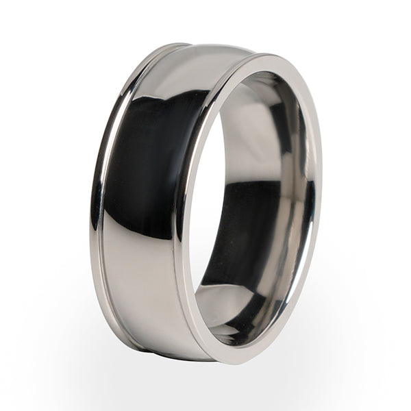 Titanium wedding ring for him. A simple and traditional design to suit any occasion.