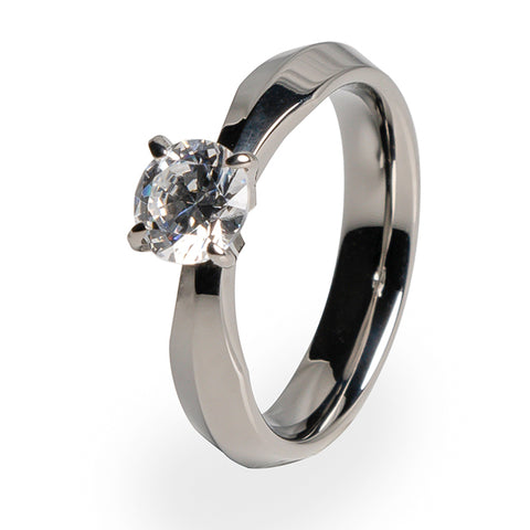 Cleopatra 5mm(±0.50ct) Diamond Titanium ring