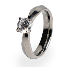 Solitaire diamond ring made from Titanium for women