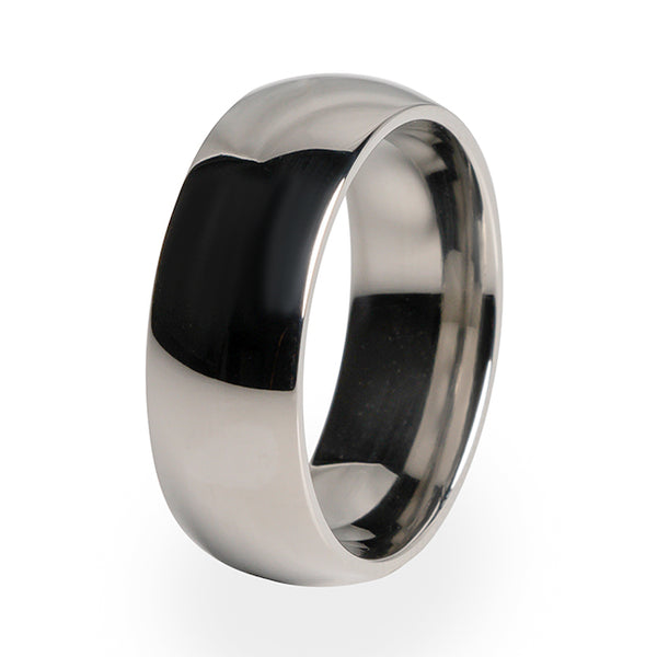 A traditional Titanium wedding band design with a comfort fit.