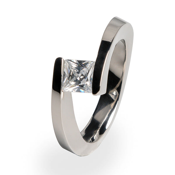 Tension setting diamond Titanium engagement ring for women