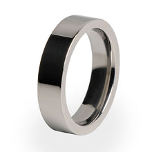 A traditional Titanium ring with a comfort fit.  A perfect wedding ring for her.