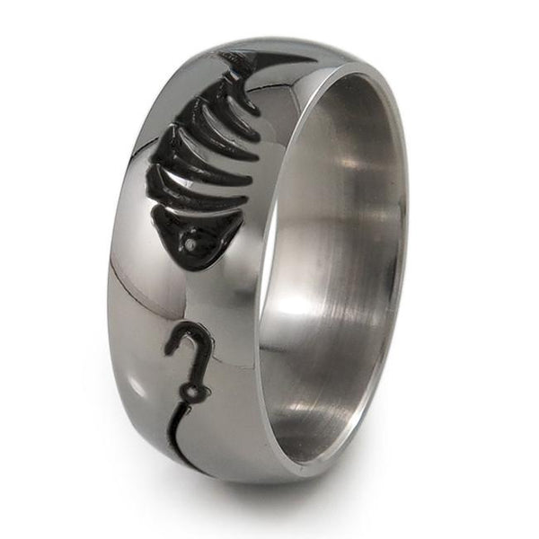 Fishermans Black Titanium Ring