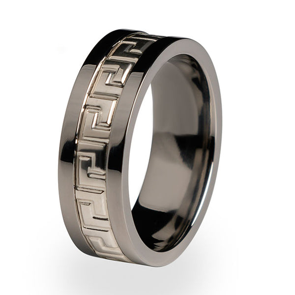 Greek Key Titanium ring with Silver inlay-Titanium Rings