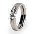 Titanium ring with diamond setting for women