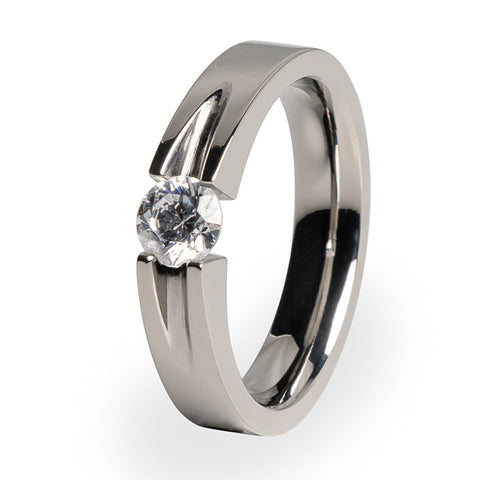 Haly 5mm(±0.50ct) Diamond Titanium Ring