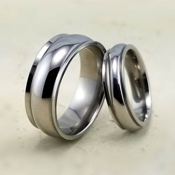Humming bird titanium wedding ring