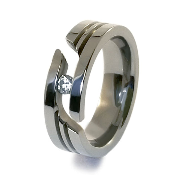 Journey cut tension set titanium ring. Men's ring. Women's ring