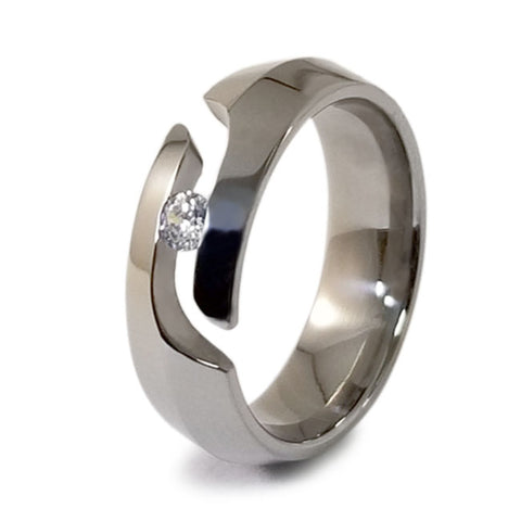 Pyramid Journey Cut Titanium Ring