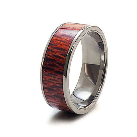 Lace Wood Titanium Ring with Wood Inlay