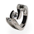 Titanium ring with 3 stone setting for women