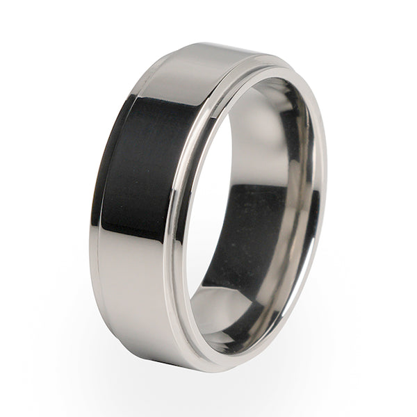 A popular wedding ring with a comfort fit and custom made from Aircraft grade Titanium.