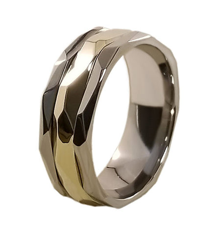The Nugget Gold Inlay Titanium ring